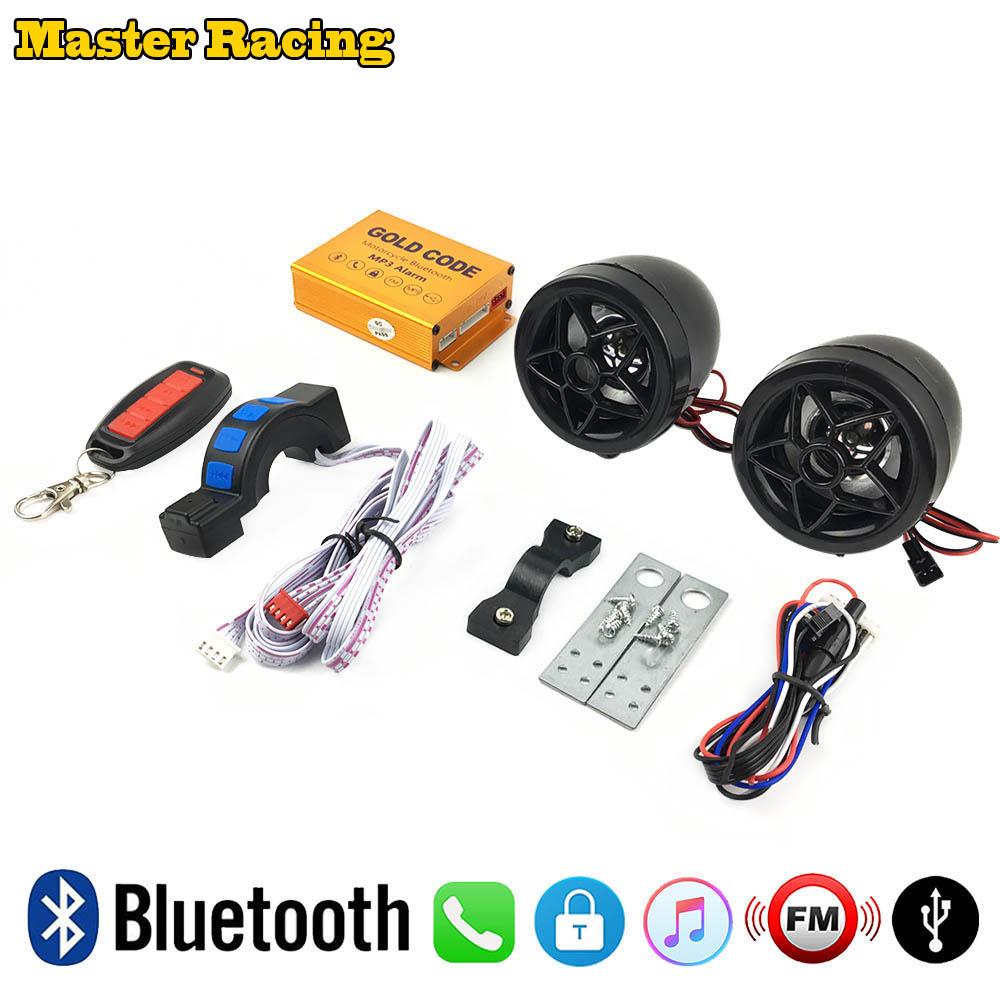 Black 12v Motorcycle Anti-theft Security Alarm USB Charger Bluetooth Audio Sound System Scooter Speakers TF MP3 Player FM Radio