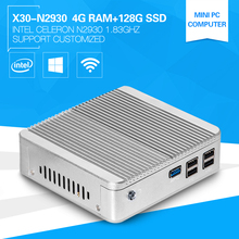 XCY Mini Embedded PC Quad Core Celeron N2930 X30 4G Memory 128G SSD without Fan Windows PC Portable Build-in-Wifi