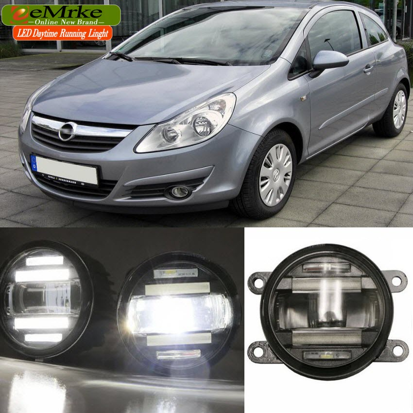 eemrke car styling for opel vauxhall corsa d 2006 2014 2 in 1 led fog light lamp drl with lens. Black Bedroom Furniture Sets. Home Design Ideas