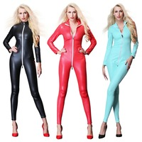2019 New Sexy Women Leather Jumpsuit Pants for Women Long Sleeve One Piece Bodysuit Catsuit Pole Dance Party Costume Wet Look