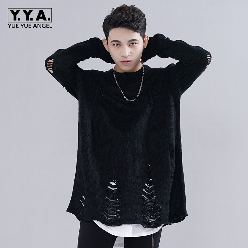 High Street Personality Baggy Mens Pullover Loose Lovers Kitted Sweater Fashion Hole Ripped Black Casual Sweaters For Men