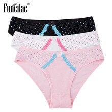 06a87f69b FUNCILAC Underwear Da Marca Mulheres Sexy Cuecas de Renda Retalhos Dot  Impressão Calcinha Rosa de Algodão