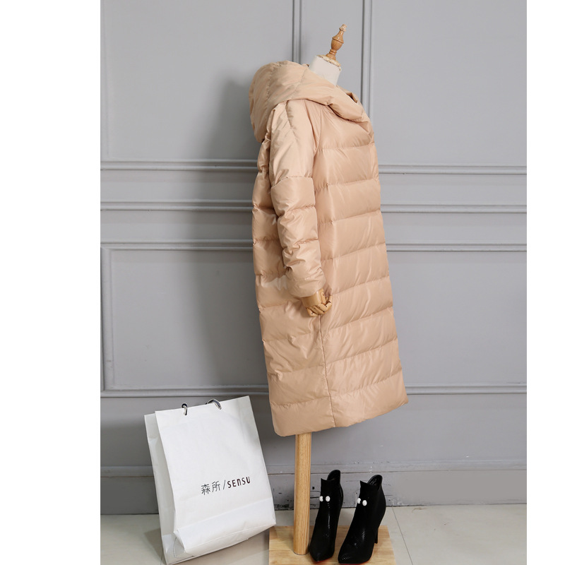 Woxingwosu winter women down jacket long loose cocoon type warm down coat size S to 4XL 5XL