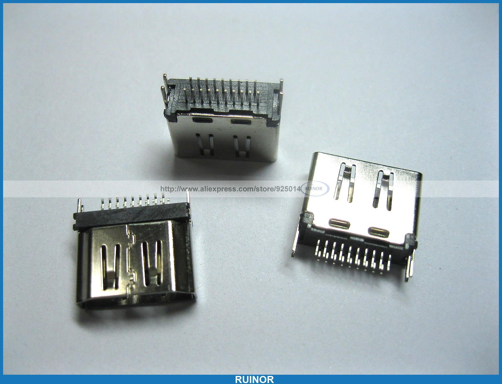 ФОТО 80 Pcs HDMI Female Connector 19pin SMT 180 Degree 2 Row