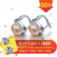 Dainashi AAAA Top Quality 100% Natural Freshwater Pearl Stud Earrings For Women Fashion Zircon 925 Sterling Silver Earring