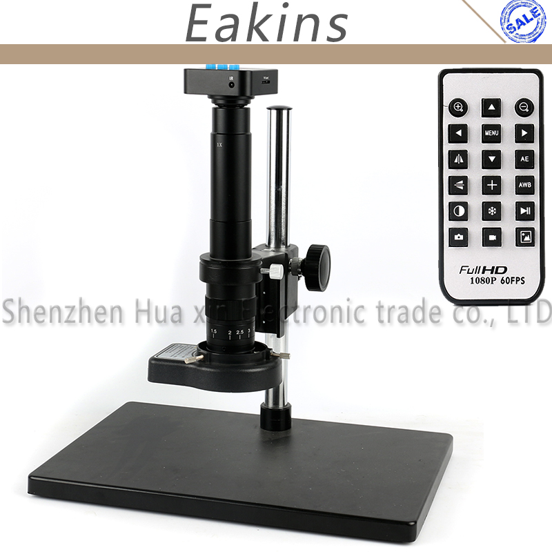 16MP 1080P 60FPS HDMI USB Industry Video Microscope Camera Remote Control + 300X 180X C-mount Lens + 144 LED Light +Big Stand