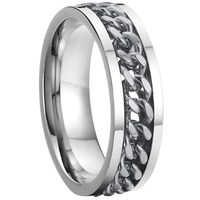 China Supplier cool wife and husband gift wedding band gear rings inlay with link chain