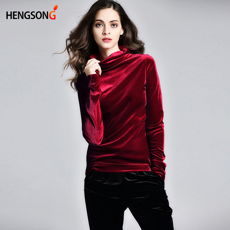 Hengsong Solid Color Long-Sleeved Bottoming Women's Shirts Spring And Autumn New High-Necked Slim Shirt  743234