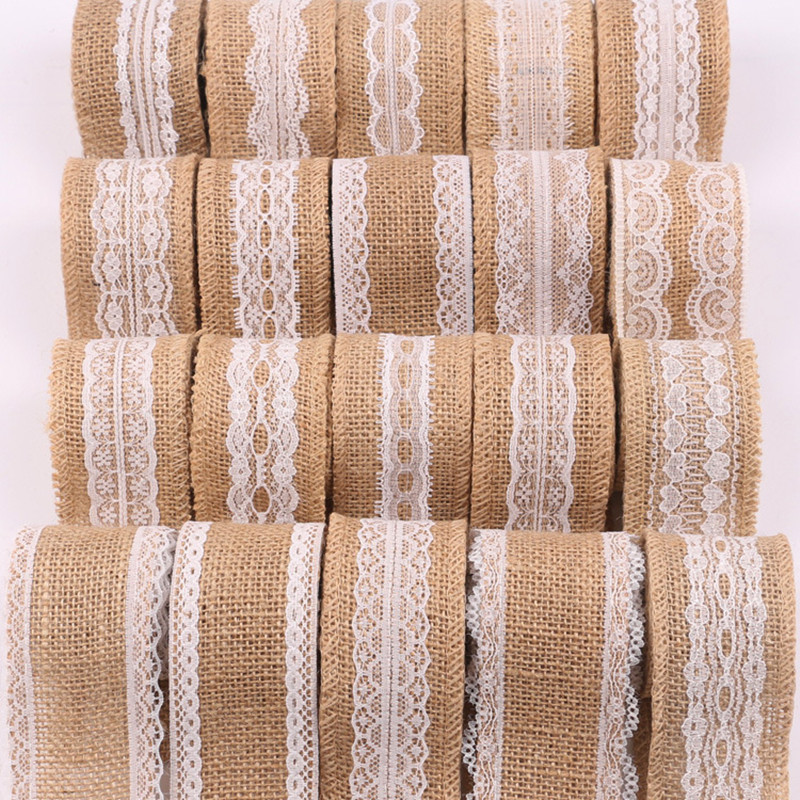 Burlap Ribbon with White Lace Trims Tape Handmade Party desk chair home Decor