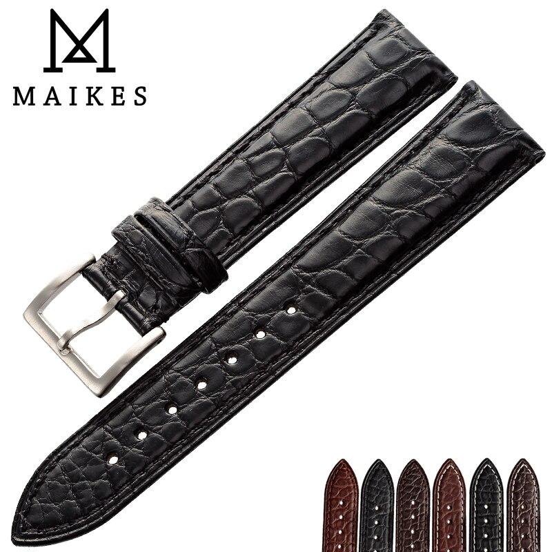MAIKES De Luxe Alligator Bande de Montre 14mm 20mm 22mm 24mm Véritable Crocodile Véritable Bracelet En Cuir Cas pour IWC OMÉGA Longines