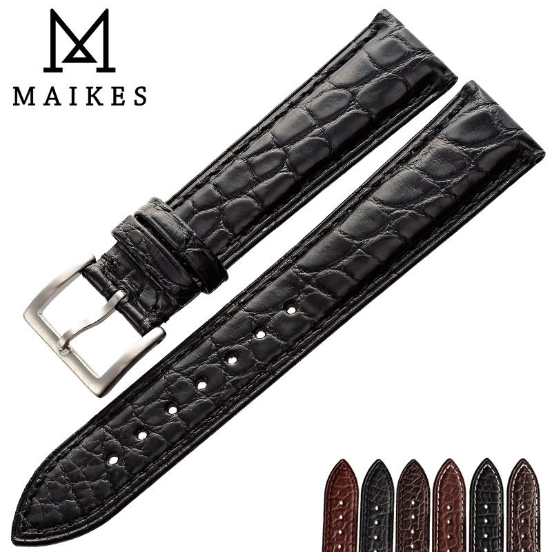 MAIKES Luxury Alligator Watch Band 14mm 20mm 22mm 24mm Genuine Crocodile Genuine Leather Watch Strap Case For IWC OMEGA Longines eache 20mm 22mm 24mm 26mm genuine leather watch band crazy horse leather strap for p watch hand made with black buckles