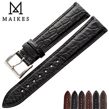 цены MAIKES Luxury Alligator Watch Band 14mm 20mm 22mm 24mm Genuine Crocodile Genuine Leather Watch Strap Case For IWC OMEGA Longines