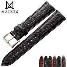 MAIKES Luxury Alligator Watch Band 14mm 20mm 22mm 24mm Genuine Crocodile Genuine Leather Watch Strap Case For IWC OMEGA Longines zlimsn south america genuine crocodile leather watch band 14 16 17 18 19 20 21 22 23 24mm suitable for omega longines watchband