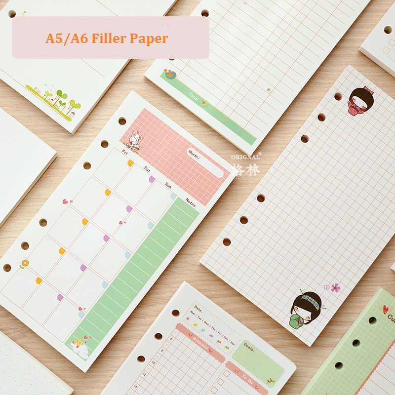 A5 A6 Cute Creative Colored Diario Binder Filler Paper Office School Stationery Planner Accessories Filler Paper For Filofax