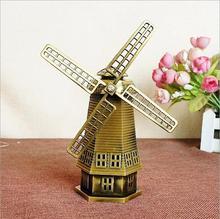 Regalos de diseño retro aleación de bronce netherlangish molinos de viento de Metal artesanía decoración del hogar 14*7*18 CM modelo de construcción tienda adornos