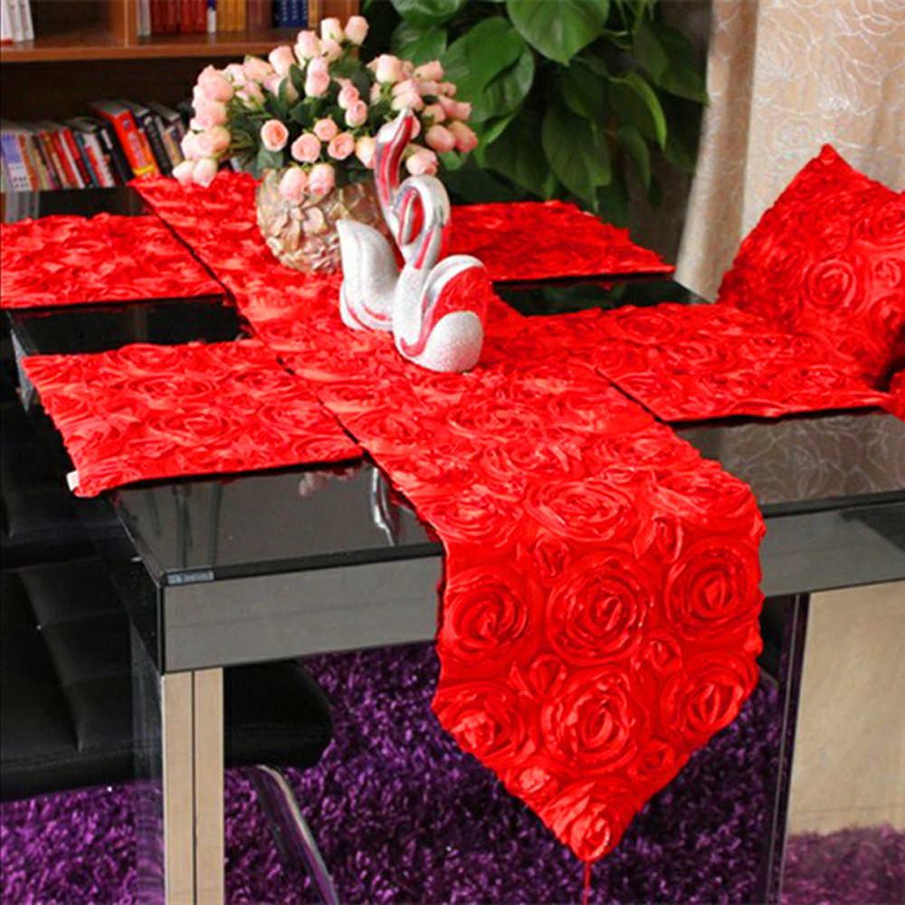 Роскошные современные розы вышивка скатерти наволочка для Свадебная вечеринка кровать бегун ТВ шкаф скатерти крышка красный