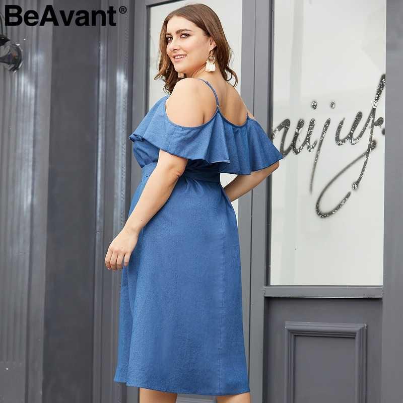 BeAvant элегантный открытыми плечами плюс размеры летнее женское платье Спагетти ремень sash джинсовые платья Повседневное синий миди платье vestidos