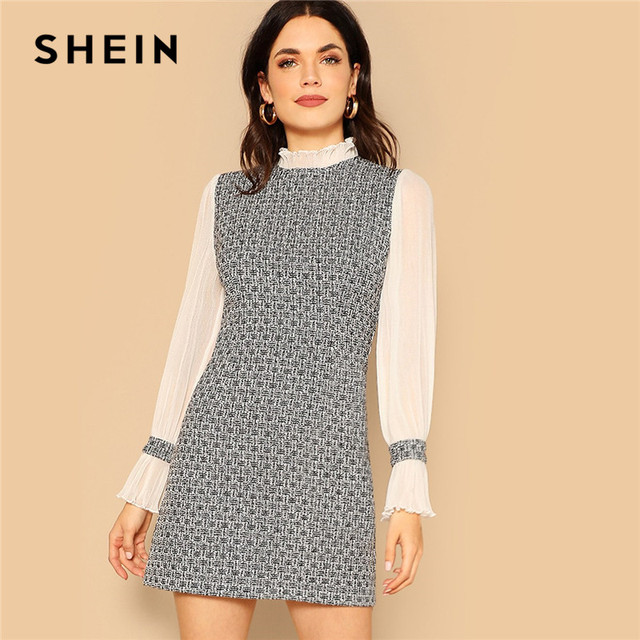 ed3110c75ab6 SHEIN Multicolor Frill Detail Mixed Media Tweed Dress Office Lady Spring  Elegant Long Sleeve Dress Women Sheath Dresses