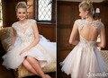 Frete grátis 15 ano Sheer curto prom vestidos 2016 abrir voltar A linha lace apliques vestido de formatura oitava