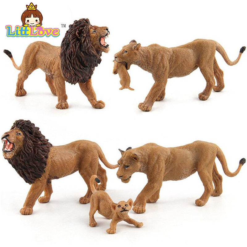 LittLove African Wild Animals Lions Action Figures Toys High Quality Male Female Lion Baby Decoration Model Toys For Children