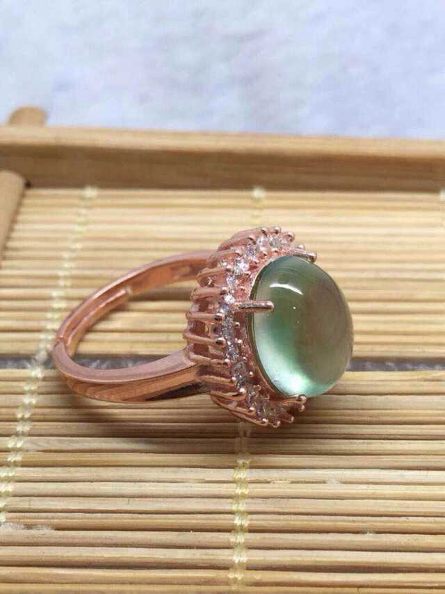 Natural green prehnite gem Ring Natural olivine  stone Ring S925 sterling silver trendy Diana round women girl gift JewelryNatural green prehnite gem Ring Natural olivine  stone Ring S925 sterling silver trendy Diana round women girl gift Jewelry