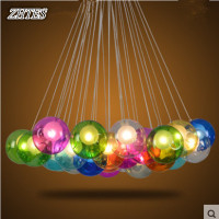 Restaurant Creative Chandelier Colored Glass Balls Bubble Chandelier Glass Ball Dining Parlor LED Lights