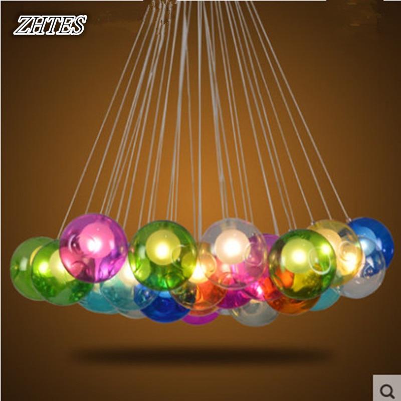 Restaurant Creative Chandelier Colored Glass Balls Bubble