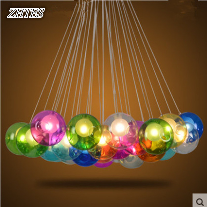 Restaurant Creative Chandelier Colored Glass Balls Bubble Chandelier Dining Parlor LED Glass Ball Lights