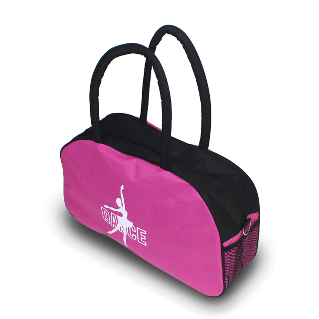 Hot Pink With Black Women Dance Bags Waterproof Canvas Ballet Bag Ballerina Tote Sports Yoga