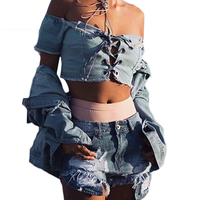 Short Sleeve Denim Crop Tops Summer Hollow Out Bandage Mini T Shirt Women Off Shoulder Bodycon