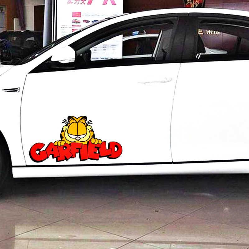 Aliauto Lucu Garfield Stiker Mobil Stiker untuk Sepeda Motor Mitsubishi Mirage Lancer Outlander Galant Expo Usaha Honda Smart