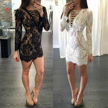 Women Summer style V neck Chest bandage Backless Mini Dress Long Sleeve Floral Lace Sexy Party
