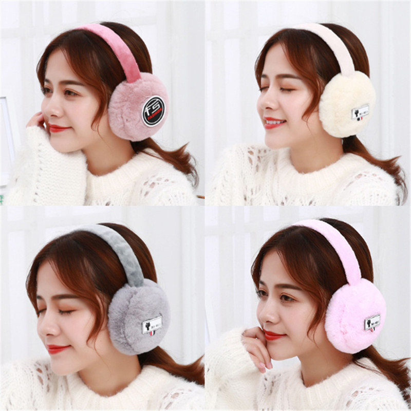 17 Winter Ladies' Cute Rabbit Hair Warm Ear Muff Plush Ears Warm Head Cold Proof Cartoon Ear Bag Gift.