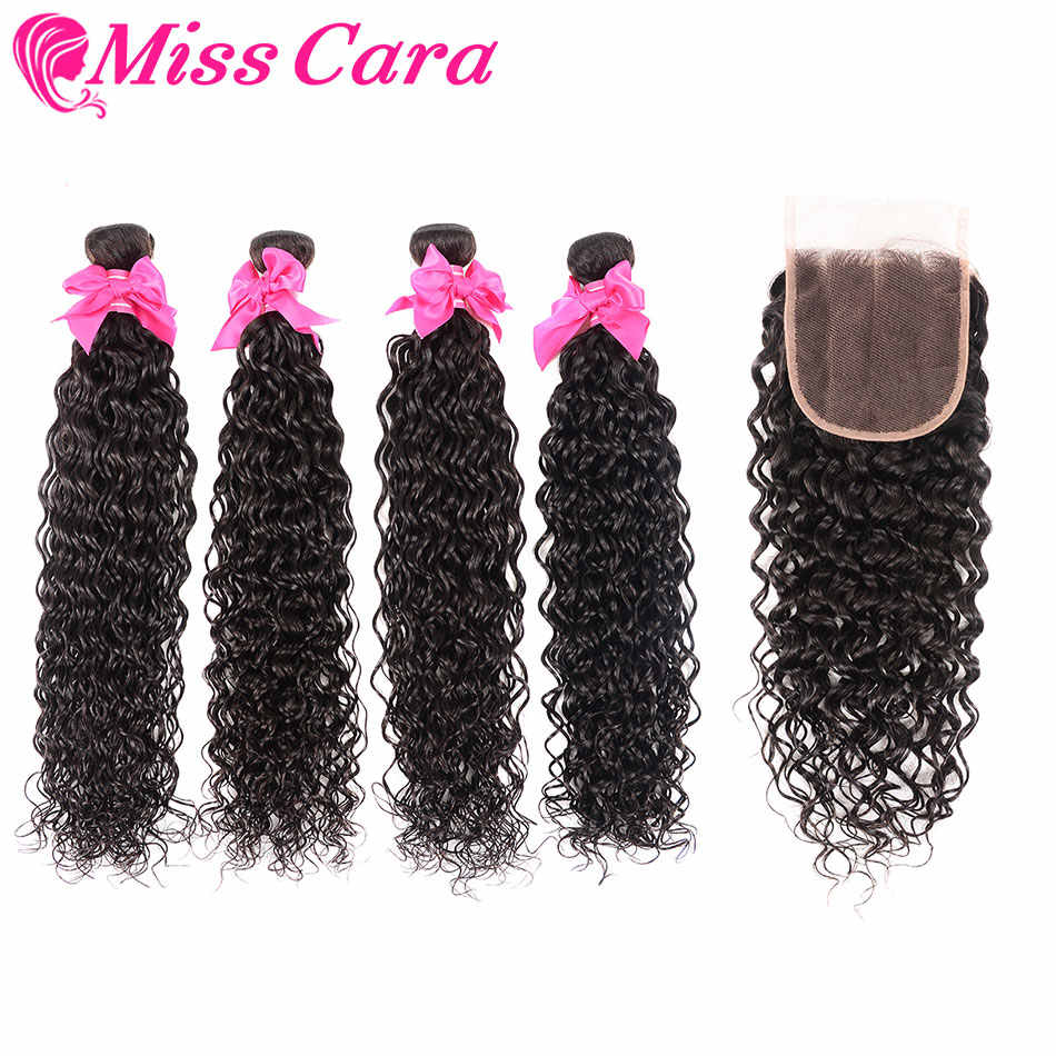Peruvian Water Wave 3/4 Bundles With Free/Middle Part Closure 100% Human Hair Bundles With Closure Miss Cara Remy Hair Weaves