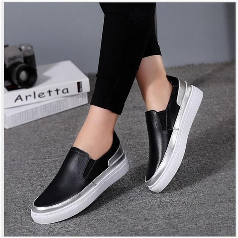 Des Fond 2 Haute Cuir Qualité Plates Mocassins Argent Mou Femmes 1 2019 Pied Noir D'étudiant Nouveau Plat Chaussures En De BZnqS0