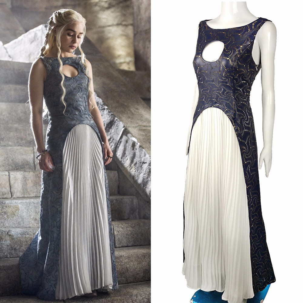 The Game Of Thrones Dress Cosplay Daenerys Targaryen Qarth Dress Leather Costume Halloween Party Prop