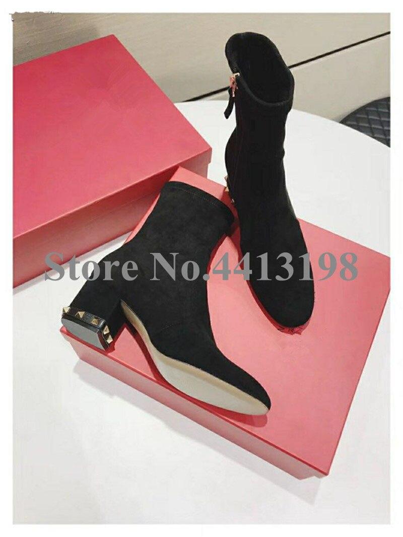 Rond Zip Cheville Rivet Talon Mode Femmes Noir La Bout Med Pour De Printemps As Bottes Picture Chaussures Carré automne nRf0xp1n
