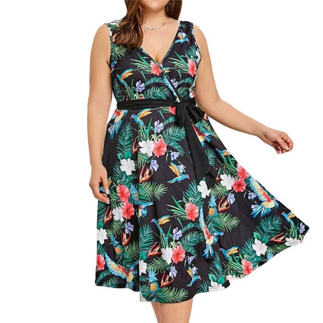Bandage Cold Shoulder Dresses Casual Deep V-Neck Plus Size Floral Printing Lace up Summer Ladies Dress vestido mujer verano 15