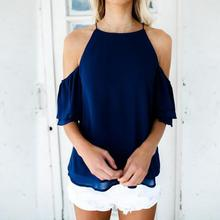 Summer Women Tops Chiffon Blouse Half Sleeve Shirt Casual Blouse Cold Shoulder Beachwear WS625X cold shoulder bell sleeve backless blouse