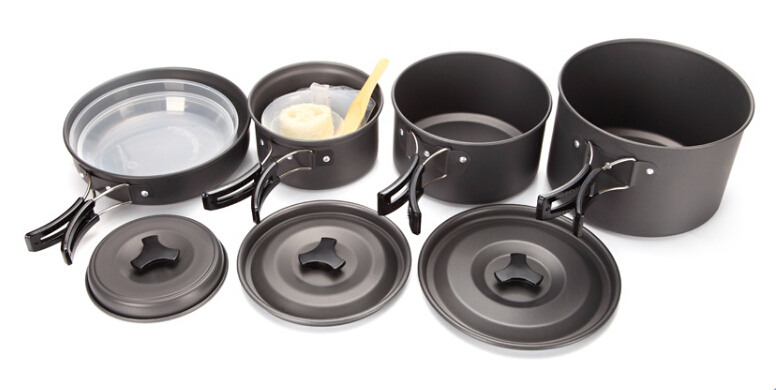4-6 Persons Outdoor Camping Cooking Set Cookware Non-stick Pots Pans DS500
