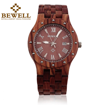 BEWELL Men's Wood Watches Leading Brands of Luxury Watches with Auto Date Red Sandalwood Quartz Calendar Clock Gift Box 109A