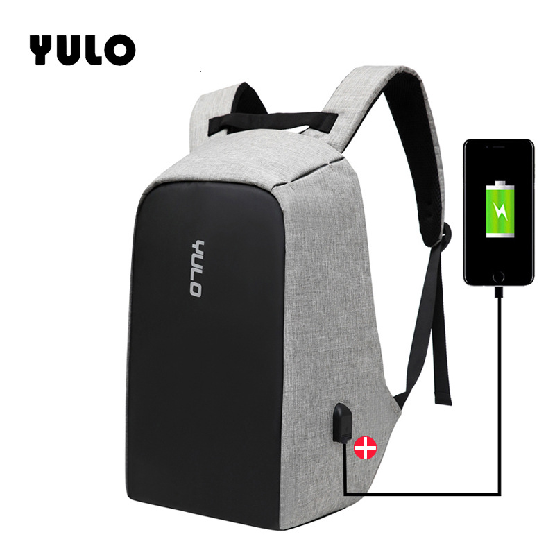 YULO Multifunction USB charging Men 15inch Laptop Backpacks For Teenager Fashion Male Mochila Travel backpack anti thief in Backpacks from Luggage Bags