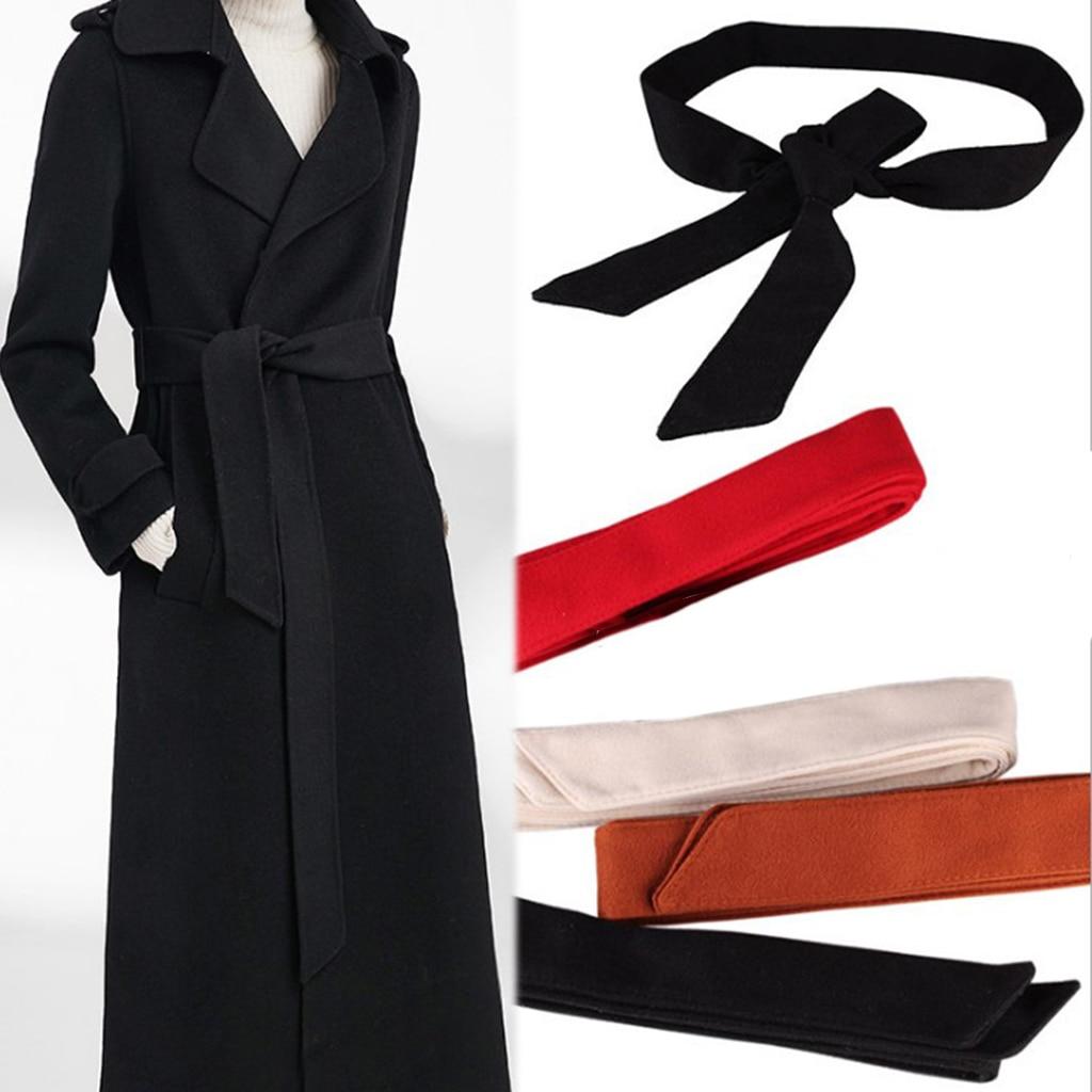 Classic Velvet Waist Belt Tie Bow Cummerbunds Fashion Belt For Women Female Wide Waistband Waist Belt For Woolen Overcoat 172cm