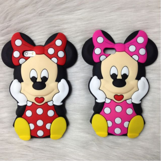 Fashion cute cartoon 3D lovely Minnie Mouse Soft Silicone Cover Back Rubber Case iPhone 4 4s 5 5s 6 6s 4.7 inch 5.5 plus  -  Threesha Digital accessories Store store