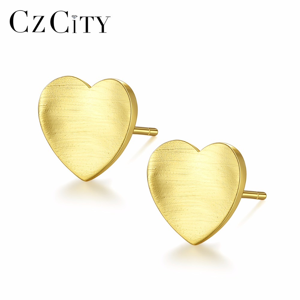 CZCITY 925 Sterling Silver Stud Earrings For Women Minimalist Brushed Women Heart Earring Brincos Para As Mulheres Fine Jewelry