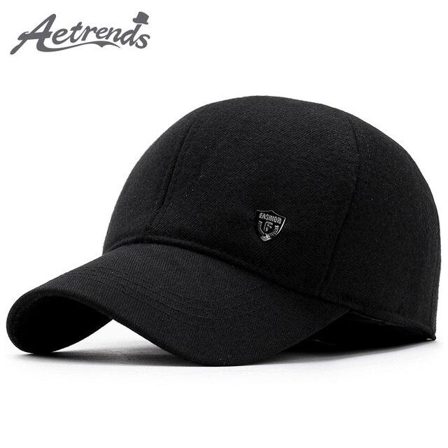 32bf913c547  AETRENDS  2017 New Winter Baseball Cap Men Dad Hat Warm with Ear Flaps  Fashion Design Bone Men Snapback Caps Z-5892