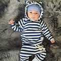 Striped Newborn Baby Boys Girls Tops Hoodie+ Pants Leggings Outfits Set Clothes