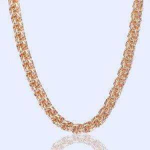 Image 2 - 1 قطعة 8 مللي متر الرجال قلادة كبيرة المرأة ارتفع الذهب اللون مزدوجة سلسلة للتقييد 60 سنتيمتر 24 بوصة تبديل قفل