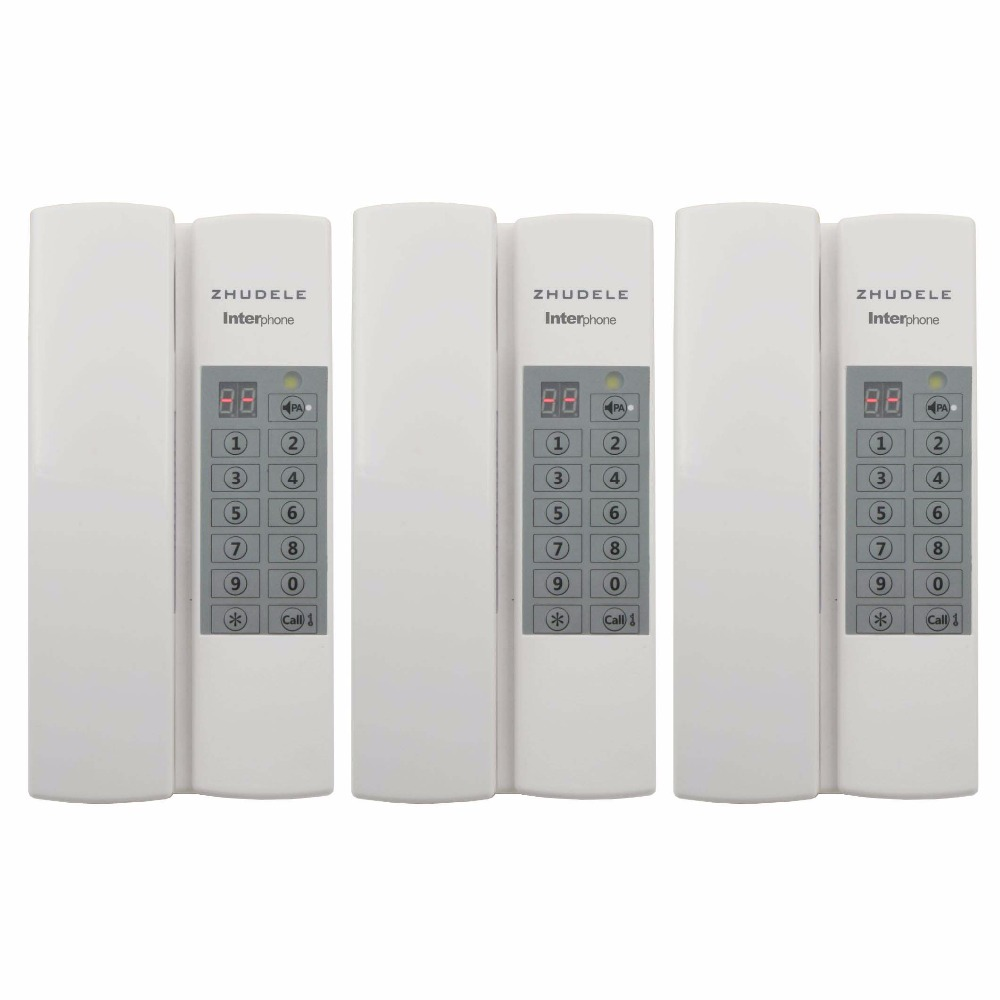 ZHUDELE Top quality home security Interphone 3 handles, safe audio door phone /intercom system 99 handle extenable+Power supply
