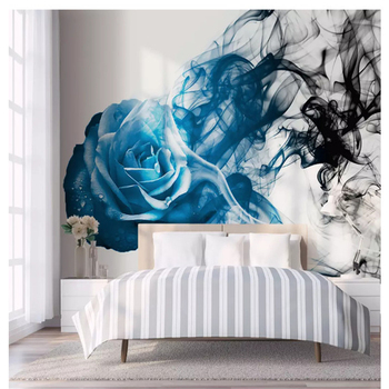 beibehang Classic Personality Decorative Stereo papel de parede 3d Wallpaper Blue Abstract Rose Smoke Line Bedroom Background